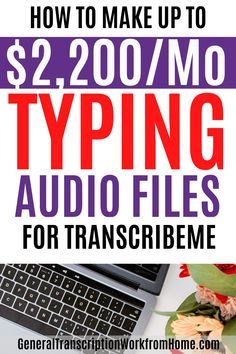 Make up to $2,200 per month typing audio files from home. TranscribeMe Has Work at Home Transcription Jobs for Beginners. No transcription experience required. $15-$22 per audio hour. This is a good transcription company for beginners. Read my review. #transcription #typingjobs #transcriptionjobs #noexperience #beginners #transcriptionworkfromhome #onlinetranscriptionjobs #remotejobs #onlinejobs #sidehustles #workfromhome #makemoneyonline Online Typing Jobs, Best Online Jobs, Online Work, Make Side Money, Quick Money, Extra Money, Legitimate Work From Home, Work From Home Jobs, Earn Money From Home