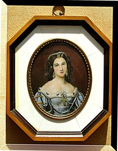 Ivory Portrait Miniature Charlotte von Hagn painted on Ivory Passpartout by N. Stieler