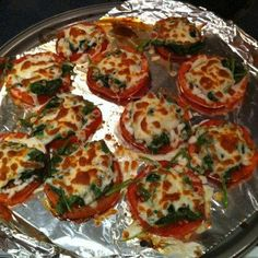 want an amazing and healthy side dish? marinate sliced tomatoes with balsamic vinegar for 4-6 hours. bake at 350 for about 7 minutes or a little tender. meanwhile, saut� spinach and garlic with a dash of salt and lemon juice. put spinach on top of tomatoes and sprinkle with low fat cheese of your choice and broil til cheese is golden!