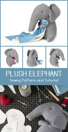 Plush Elephant Sewing Pattern and Tutorial by Fluffmonger — Stuffed elephant sewing pattern, DIY Elephant, Elephant Plushie, Elephant Soft Toy, Elephant Stuffed animal tutorial elefant Plush Elephant Sewing Pattern Elephant Stuffed Animal, Sewing Stuffed Animals, Stuffed Animal Patterns, Stuffed Animal Diy, Softies, Plushies, Sewing Patterns Free, Free Sewing, Pattern Sewing