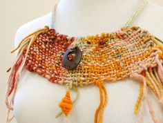 Gipsy inspired bib necklace  bohemian hand woven neck by alvant,