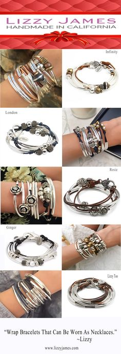 Shine & stay stylish this season with the Handmade USA Lizzy James Silver & Leather Wrap Bracelets Collection! The collection offers an array of styles that can be worn as both a wrap bracelet & necklace. Choose from over 50 different leather colors and personalize your wrap by adding a charm of your choice - over 100 different charms to choose from. Versatility in an accessory never looked this beautiful. #LizzyJamesInc