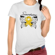 Childhood Cancer Survivor Butterfly Tee Shirts by cancerapparelgifts.com  #ChildhoodCancer #ChildhoodCancerawareness #ChildhoodCancershirts