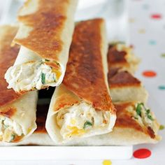 "Chubby Chicken & Cream Cheese Taquitos Recipe - ZipList (As recipe suggests, "" these are highly customizable. Use a different cheese, green or red salsa, taco sauce, guacamole or diced avocado. Whatever you have on hand or your hungry heart is in the mood for."" Using low carb shells, makes a quick snack -  or lunch"