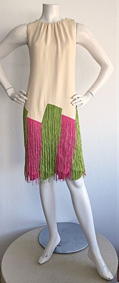 Ultra Rare Jean Louis 1960s 60s Fringe Car Wash Dress image 6