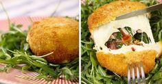 Zutaten für 4 Portionen: 4 Mozzarella Bällchen ca 2 Scheiben Schinken oder Speck frischer Basilikum getrocknete...