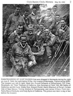 Paratroopers of the 101st Airborne Division that were dropped during the night on june 5, 1944, the night before D-Day. The picture was taken a day or two before the invasion.