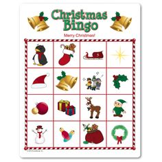 Favorite for young kids! Add a personal message at the top, website auto scrambles as many cards as you need. You just print. Call card has extra large pictures for kiddos. Kids Christmas party games.