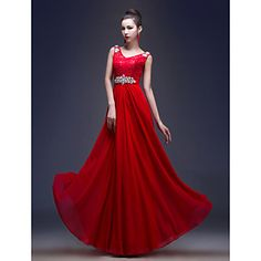 A-line/Princess V-neck Floor-length Georgette And Lace Evening Dress (LF235) – USD $ 79.99