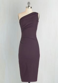 Reservation to Rendezvous Dress. Meet your sweetie for a romantic dinner exuding sexy confidence in this aubergine sheath dress by Stop Staring! #purple #wedding #modcloth