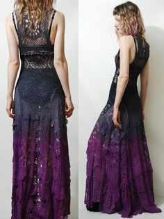 Crochet Dress VINTAGE LACE Purple Black OMBRE Long by cruxandcrow
