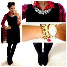 Hello, Gorgeous! How smart is that?. A sheath dress over a button- up!!! This girl knows what she's doing!!! Genius!!!