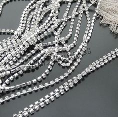 Decorative Beaded Chain, Brass, silver color plated, different size for choice & with rhinestone, more colors for choice, nickel, lead & cadmium free, 50/,china wholesale jewelry beads