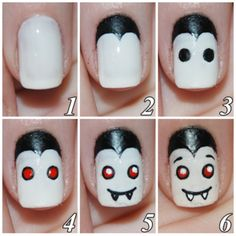 Tutorials for how to DIY Halloween Nail Art! We are in love with these nail art ideas that are Halloween themed for some seriously spook-tacular finger nails. Cute Halloween Nails, Halloween Nail Designs, Cute Nail Designs, Halloween Vampire, Halloween Ideas, Happy Halloween, Halloween Mode, Women Halloween, Halloween Pictures