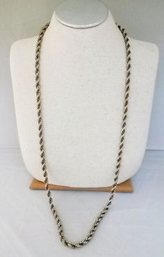 """Vtg 1950s Chunky Pale GoldTone 5/16""""W Rope Chain Link 40.5"""" Around Long Necklace #NotSigned #Chain"""