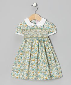 Take a look at the Emily Lacey Turquoise Floral Smocked Dress - Infant on #zulily today!