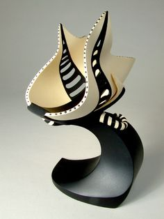 "Marilyn Campbell | GALLERY | Black & White Series | ""Definitely Not in Kansas. ""Although nature has long been an inspiration, I have recently become interested in using design principles to bring a more classic, cultured look to my vessels. Inspiration for the black and white work began with a book of vintage and contemporary handbags."""