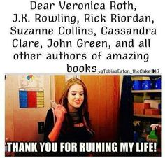 j.k. rowling, rick riordan, suzanne collins, cassandra clare, john green, harry potter, hunger games, divergent, veronica roth, mortal instruments, infernal devices, the fault in our stars
