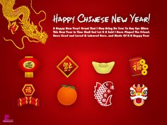 Happy Chinese New Year Wishes Card Red 2014