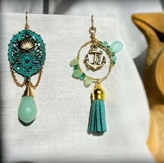 Nautical Blue & Gold Mismatch Earrings (Handmade)