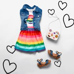 Girls' fashion Kids' clothes Rainbow dress Denim vest Emoji patch purse Denim wedges The Children's Place Kindergarten Fashion, Preteen Fashion, Kids Fashion, Cheap Fashion, Girl Emoji, Outfits Niños, Kids Clothes Sale, Little Kid Fashion, Toddler Girls
