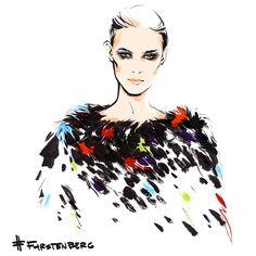furstenberg. Fashion illustration by Alena Lavdovskaya