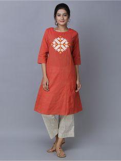 Orange Cotton Phulkari Kurta