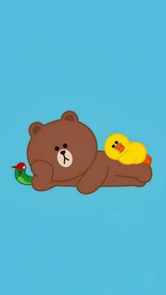 Line Brown Bear, Brown Line, Cony Brown, Bear Wallpaper, Line Friends, Line Sticker, Cute Cards, Smiley, Winnie The Pooh
