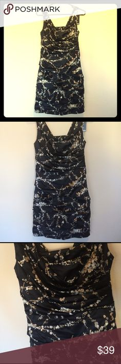 Express Ruched Dress. Black. Size 4. Satin ruched dress by Express. Black with neutral floral design. size 4. Never worn. Express Dresses