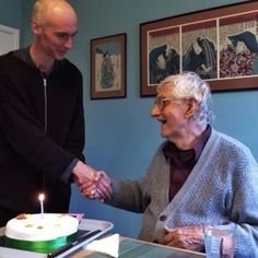 Receiving a cake from the Dharmacharini Order Convention... Happy 89th Birthday to Urgyen Sangharakshita, the founder of the Triratna Buddhist Community and Order!