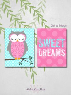 Baby Girls Owl Nursery Art, Sweet Dreams, polkadots, Little Girls Bedroom Decor, Hot Pink and Aqua on Etsy, $20.00