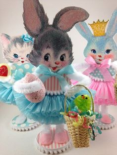 Items similar to Easter Bunny Easter Decor Vintage Style Chenille Figure Shabby Chic Paper Doll Figurine Cake Topper Centerpiece on Etsy Easter Crafts, Holiday Crafts, Easter Toys, Hoppy Easter, Spring Crafts, Easter Bunny Decorations, Easter Decor, Easter Ideas, Shabby Chic Paper