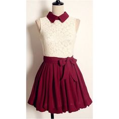 cream and red collared dress The top has a dark red collar. The top of the dress is a white lace patterned with flowers and the bottom is dark red and flows out in a sort of balloon shape. Comes with a red tie to cinch the middle. Very short. Would fit best on girls around the height of 5'-5'2 Dresses Mini