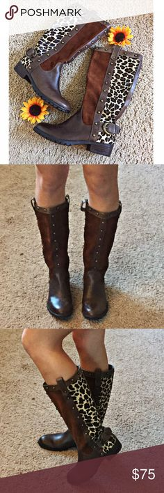 Whiskey Kingdom Boots Brand New. Never Worn! Absolutely STUNNING! These beyond gorgeous boots are simply a definite MUST HAVE! Create the most perfect finishing touch to any outfit in your wardrobe! Amazing for year round wear. Features an animal print design with animal hair, and brown color-block sections, a buckle accent, and studded accents that all come together to create the most perfect boot!❗️Depending on lighting the color may look lighter or darker:)❗️ Shoes Heeled Boots