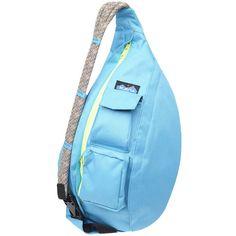 Kavu Rope Sling Purse ($40) ❤ liked on Polyvore featuring bags, handbags, rope bag, travel purse, blue bag, blue purse and kavu bags
