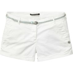 Scotch & Soda Chino Shorts ($48) ❤ liked on Polyvore featuring shorts, bottoms, white, stretchy shorts, zipper shorts, white shorts, slim fit shorts and slim shorts