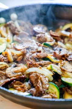 Easy Sirloin Skillet with Vegetables is a keto pan fried top sirloin steak dinner with mushrooms, zucchini, and onions for a cheese-free way to cook cheesesteak style thin sliced top sirloin! Entree Recipes, Steak Recipes, Dinner Recipes, Cooking Recipes, Healthy Recipes, Cooking Food, Healthy Food, Healthy Eating, Dinner With Mushrooms