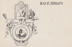 Postkarte der Sängerschaft Arion zu Leipzig (Sachsen) in der Deutschen Sängerschaft. Gedruckt 1910. #Studentika #Studentica #Studentenverbindung #Korporation #GermanFraternity Poster, Fraternity, Postcards, Billboard