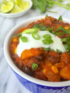 Slow Cooker Beef Chili with Lime Crema Recipe