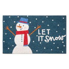 "Snowy Snowman Doormat - Blue - (1'6""x2'6"") - Threshold"
