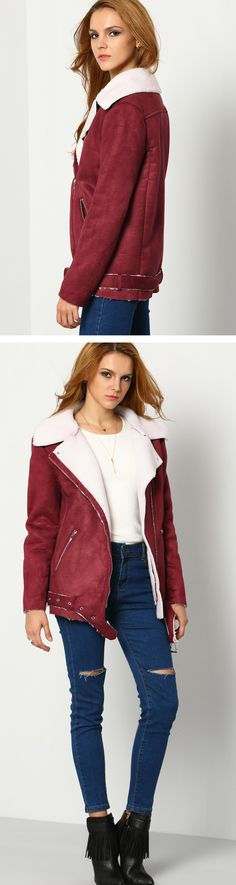 The parka is a winter must! This Wine Red crop Coat is so fashion and cute ! Long Sleeve, Lapel Quilted Zipper design make you a street star.Click for more detailed information at m.shein.com.