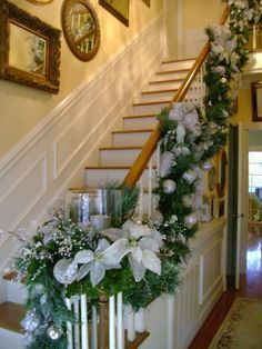 Candles at end of bannister - love it!
