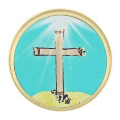 Symbolic Cross Gold Finish Lapel Pin