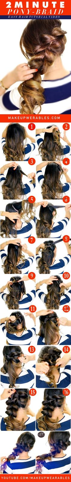 2-Minute Fancy Pony-Braid! Super Easy Hairstyles for summer
