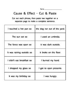 Cause & Effect - 3 printable worksheet activities - matching, cut & paste, finish the chart #Christmas #thanksgiving #Holiday #quote