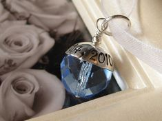 Cute idea! Attach to a ribbon on the bouquet! SOMETHING BLUE Custom Hand stamped wedding bridal by SissyPretties, $27.00