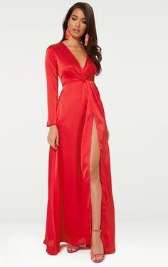 Shop the range of dresses today at PrettyLittleThing. Express delivery available. Satin Dresses, Formal Dresses, Long Dresses, Daily Dress, Satin Material, Black Satin, Affordable Fashion, Wrap Dress, Clothes For Women