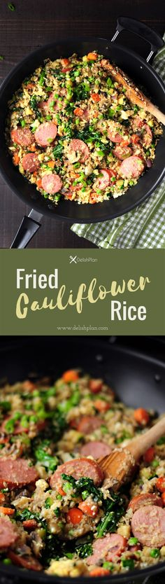Cauliflower rice fried w/ loads of veggies & kielbasa in a tasty gluten-free sauce. It's a savory low-carb meal you can make for your family in 30 minutes. Gluten Free Rice, Healthy Gluten Free Recipes, Healthy Dinner Recipes, Low Carb Recipes, Vegetarian Recipes, Paleo, Keto, Vegetable Recipes, Delicious Recipes