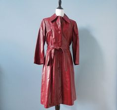 Vintage 70's LEATHER TRENCH coat / red leather by RelevantObjects, $51.99