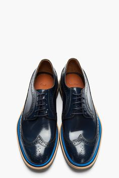 9d33ea85a476 maninpink  Paul Smith Navy Leather Longwing Indios Brogues Men Dress